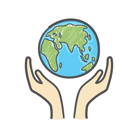Globe and hands doodle. Earth icon hand-drawn on white background.