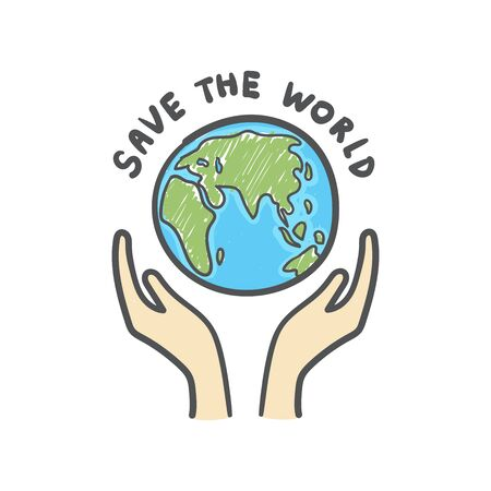 Save the world, Globe and hands doodle. Earth icon hand-drawn on white background. Foto de archivo - 129962537