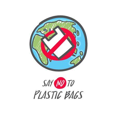 Hand drawn save the earth sign. No plastic bag icon. Say no to plastic bag. Foto de archivo - 129962552