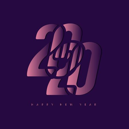 Happy New Year 2020 Text Design. Foto de archivo - 129962566