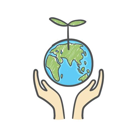 Human hands holding globe with plant on it environmental care and social responsibility doodle. Earth icon hand-drawn on white background.