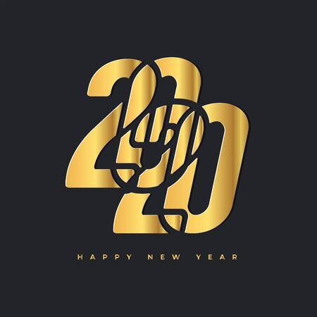 2020 Happy new year gold logo. Celebration text graphics. Foto de archivo - 129962137