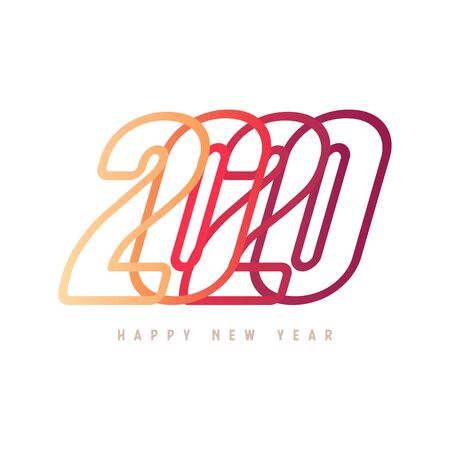 Colorful Happy New Year 2020 Text Design. Foto de archivo - 129962147