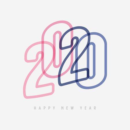 Colorful Happy New Year 2020 Text Design. Foto de archivo - 129962149