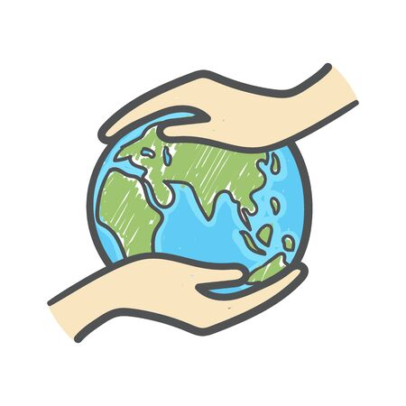 Hand holding the globe hand drawn doodle icon. Ecology care and eco friendly concept. Illusztráció
