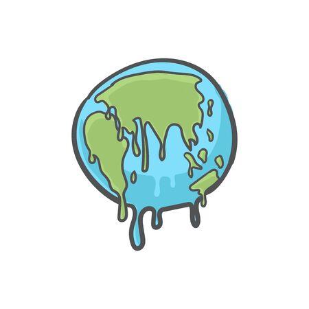 Global warming, Earth globe melting hand drawn doodle icon. Foto de archivo - 129962189