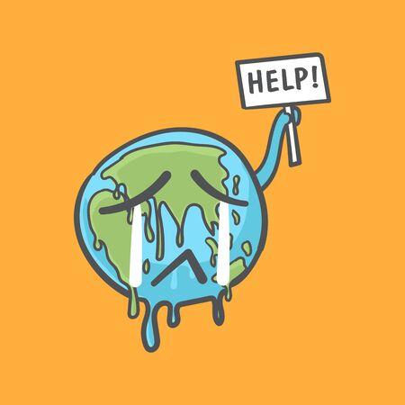 Stoppen Sie die globale Erwärmung, die Erdkugel weint und hält eine Hilfezeichen-Doodle-Karikatur. Vektorgrafik