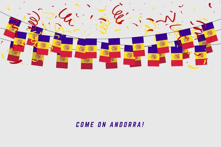 Andorra garland flag with confetti on white background, Hang bunting for Andorra celebration template banner. Foto de archivo - 129962275