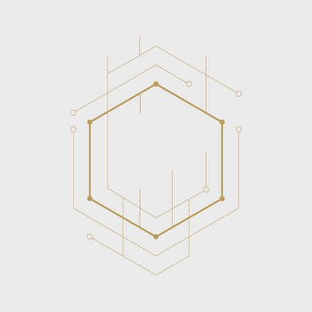 Abstract geometric hexagon. Lines and dots minimalistic design.