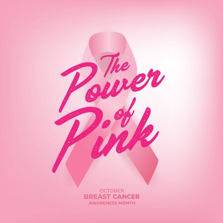 The Power of Pink. World October Breast Cancer Awareness Month Banner.
