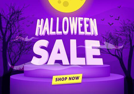 Halloween sale poster or banner design. Foto de archivo - 131815580