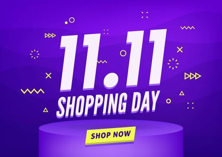 11.11 Shopping day sale poster or flyer design. Global shopping world day Sale on colorful background. 11.11 Crazy sales online. Foto de archivo - 131815685