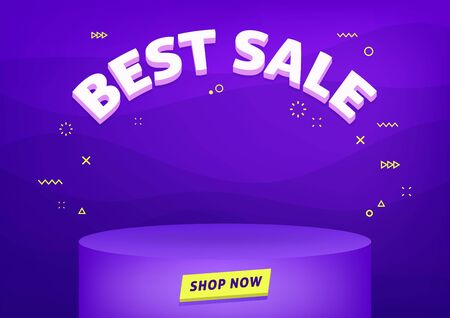 Best sale banner template. Cheap shopping, low price store promo illustration. 3D text on futuristic abstract background. Foto de archivo - 131815710
