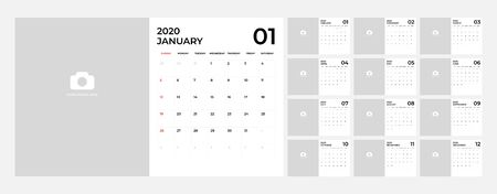 Modern Calendar for 2020 template. Foto de archivo - 131816038