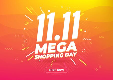 11.11 Mega shopping day sale poster or flyer design. Global shopping world day Sale on colorful background. 11.11 Crazy sales online. Çizim