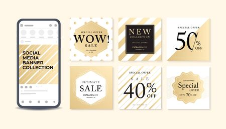 Abstract banner template design on gold background. Foto de archivo - 131816192