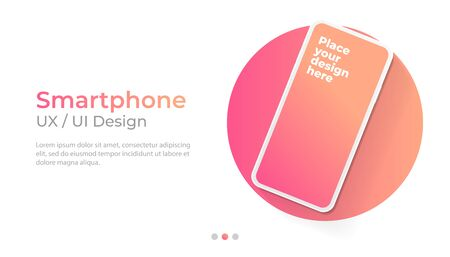 Smartphone with blank screen banner, mockup. Template for UI design interface. Foto de archivo - 131815569