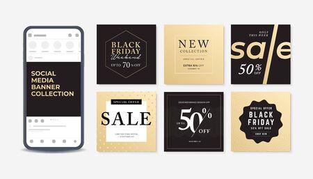 Modern promotion square web banner for social media. Set of sale banner template design. Foto de archivo - 131820345
