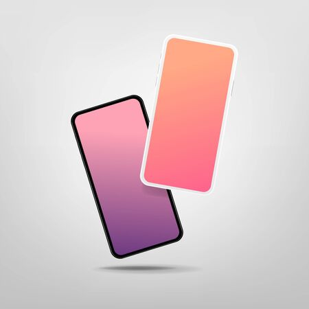 Two modern smartphones with blank screen. Mock-up of realistic Smartphones.