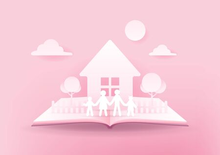 Open book of happy family. House and family paper 3d on pink background. Happy family concept.