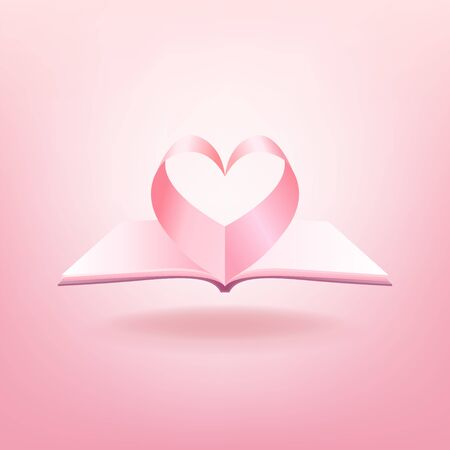 Open book and shape of heart isolated on pink background. Foto de archivo - 132357629