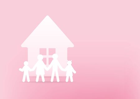 House and family paper 3d on pink background. Happy family concept. Foto de archivo - 132356922