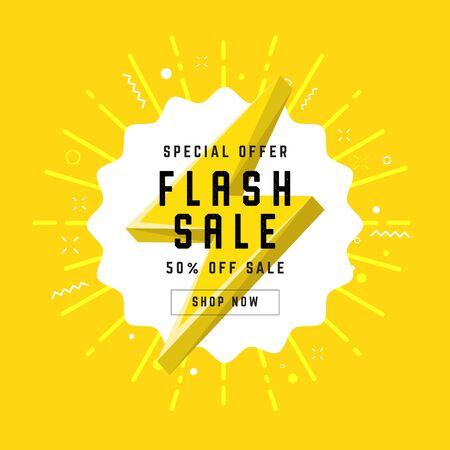 Flash Sale with thunder banner template design. Foto de archivo - 132356962