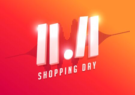 11.11 Shopping day sale poster or flyer design. Global shopping world day Sale on colorful background. 11.11 Crazy sales online. Foto de archivo - 132827699