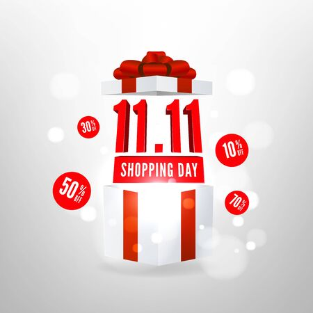 Special offer 11.11 Shopping day discount symbol with open gift box. Global shopping world day sale promotion. Foto de archivo - 133190417