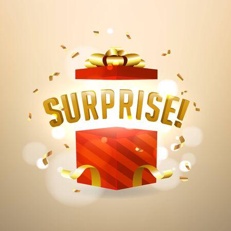 Surprise inside open red gift box. Birthday surprise present concept. Foto de archivo - 133221520