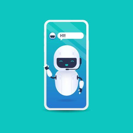White friendly robot say hi. Chatbot future concept. Helping bot in smartphone. Foto de archivo - 133221710