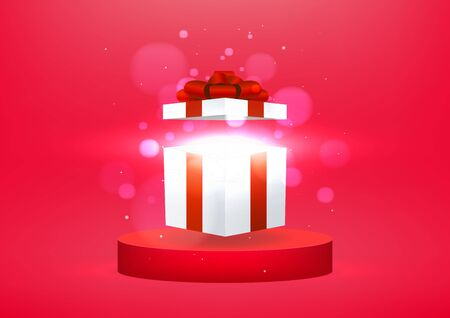Opened gift box with bright rays of light on podium studio red background. Banner background for advertise product. Foto de archivo - 133190935