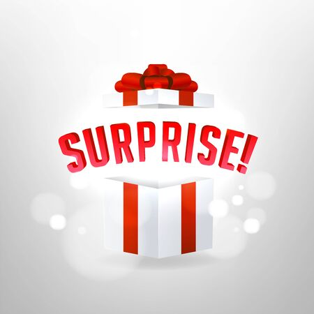 Surprise inside open gift box design template. Birthday surprise and Christmas present concept. Foto de archivo - 133190982