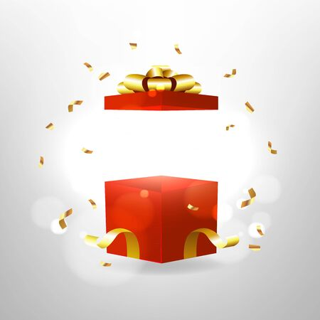 Opened red gift box with red bow and gold ribbon. Surprise box with magic effect. Foto de archivo - 133221763