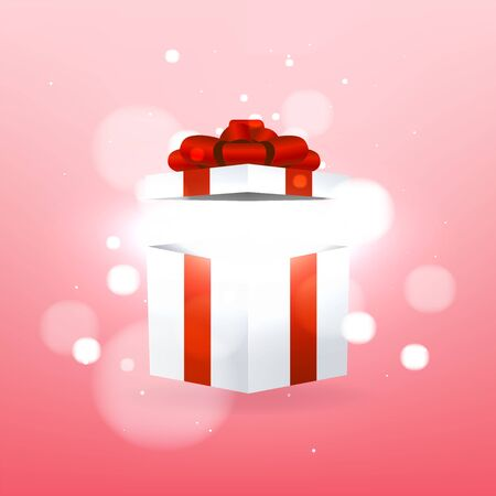 Opened gift box with red bow and magic effect. Foto de archivo - 133189640