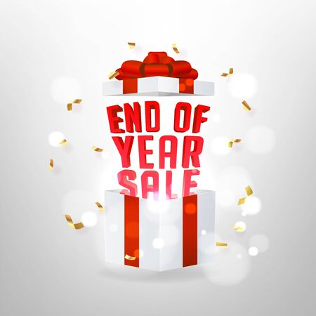 End of year sale banner. Opened gift box with red bow and magic effect. Foto de archivo - 133221500