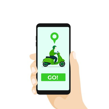 Online motorcycle transportation with smartphone app.