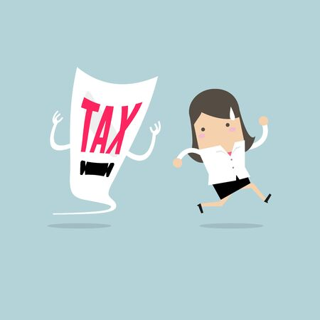 Businesswoman run away from tax devil. Ilustração Vetorial