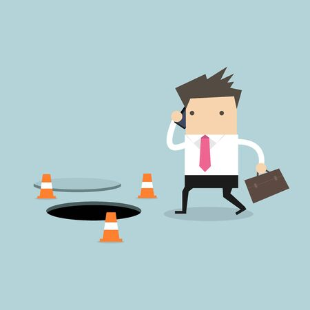 Businessman is talking on the phone without being careful of the hole on the ground. Ilustracja