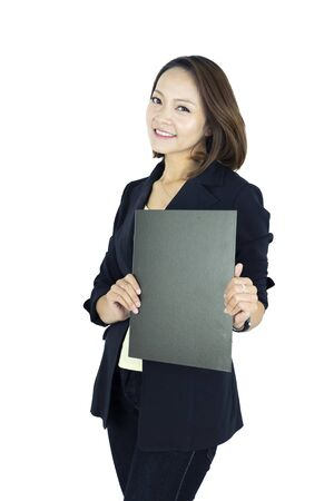 Asian business woman holding file document isolated on white background.