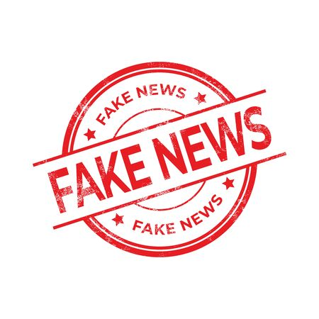 Fake News, Red rubber stamp isolated on white background. Ilustración de vector