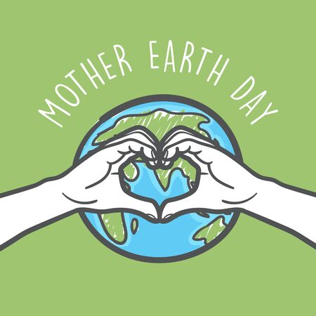 Love hand sign and earth between the hands celebrating Mother earth day. Vektorové ilustrace