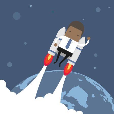 Flying African businessman with jetpack. Illustration