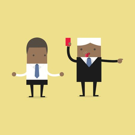 Manager showing a red card to African businessman.