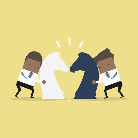 African businessman with horse chess and fighting each other. Business competition concept.
