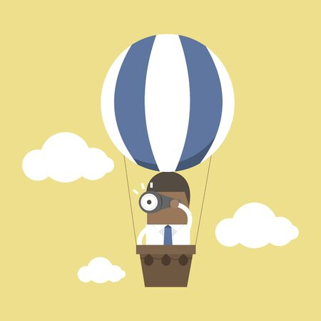African businessman look at binoculars on balloons that are floating in the sky.
