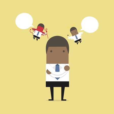 African businessman with evil and angel. Illustration