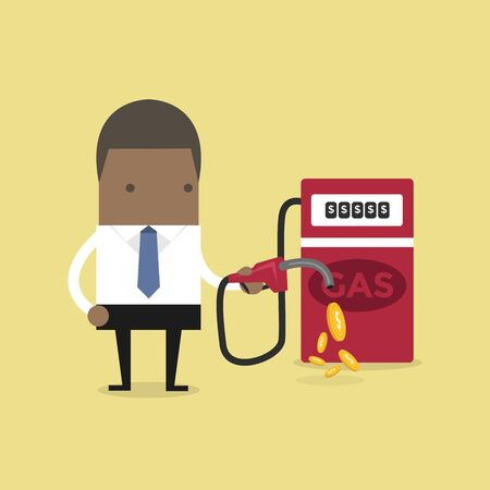 African businessman and gas station. Ilustrace