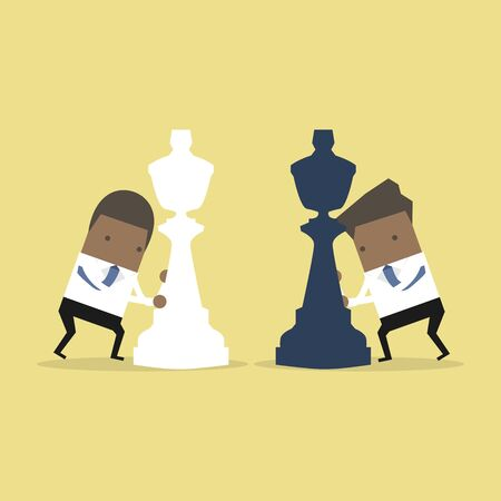 African businessman moving chess pieces on chess board. Concept of business or politics.