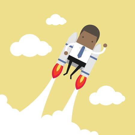 African businessman flying with jetpack.